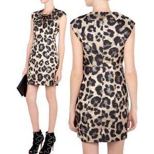TIBI metallic leopard mini dress 0 XS